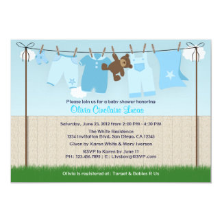 Cute Clothesline Baby Boy Modern Baby Shower 5x7 Paper Invitation Card