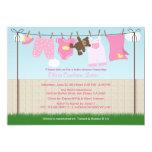 Cute Clothesline Baby Girl Modern Baby Shower Card