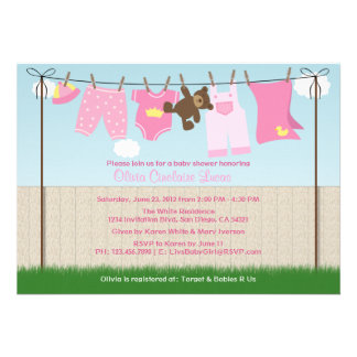 Cute Clothesline Baby Girl Modern Baby Shower Custom Announcement