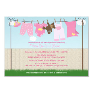 Cute Clothesline Baby Girl Modern Baby Shower 5x7 Paper Invitation Card