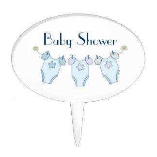 Cute Clothesline Baby Shower Cake Topper - Blue