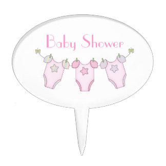 Cute Clothesline Baby Shower Cake Topper - Pink