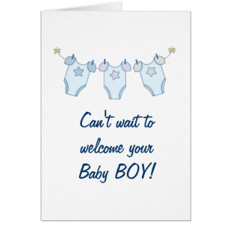 Delightful Cute Clothesline Baby Shower Greeting Card   Blue