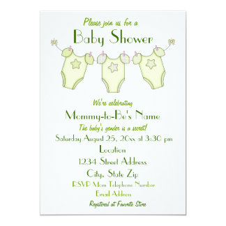 Cute Clothesline Baby Shower Invitation - Green