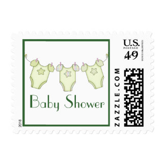 Cute Clothesline Baby Shower Postage - Green