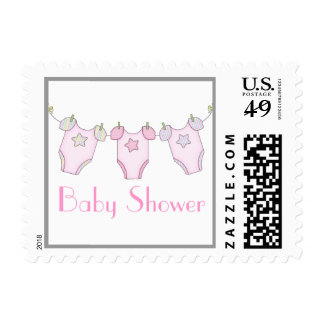 Cute Clothesline Baby Shower Postage - Pink