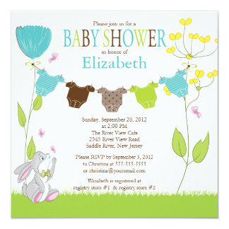 Cute Clothesline Boy Baby Shower Invitations