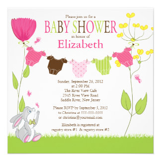 Cute Clothesline Girl Baby Shower Invitations