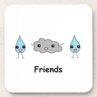 Cute Cloud and Raindrop Friends Coaster