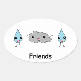 Cute Cloud and Raindrop Friends Oval Sticker