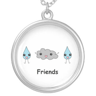 Cute Cloud and Raindrop Friends Silver Plated Necklace