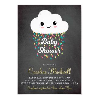 Cute Cloud & Confetti   Chalkboard Baby Shower Card