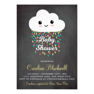 Cute Cloud & Confetti   Chalkboard Baby Shower Magnetic Card