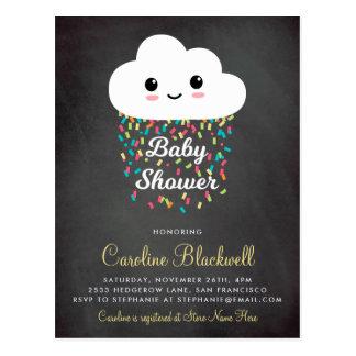 Cute Cloud & Confetti   Chalkboard Baby Shower Postcard