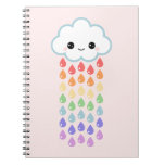 Cute Cloud with Raindrops Spiral Notebook