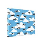 Cute Clouds and Flying Penguins Canvas Print