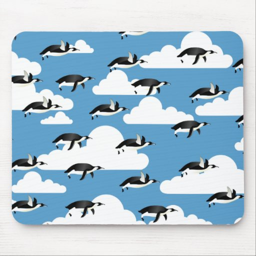Cute Clouds and Flying Penguins Mousepads