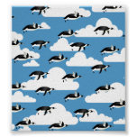 Cute Clouds and Flying Penguins Poster