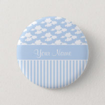 Cute Clouds and Stripes Button