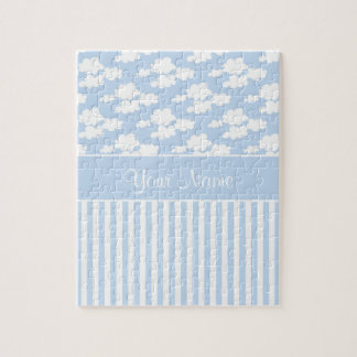 Cute Clouds and Stripes Jigsaw Puzzle