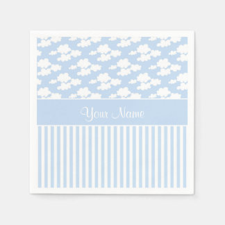 Cute Clouds and Stripes Paper Napkin