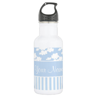 Cute Clouds and Stripes Stainless Steel Water Bottle