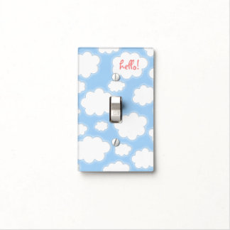 Cute Clouds Pattern Blue Pink Kids Personalized Light Switch Cover