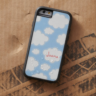Cute Clouds Pattern Blue Pink Personalized Name Tough Xtreme iPhone 6 Case