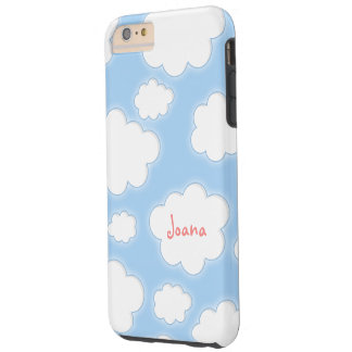 Cute Clouds Pattern Blue Pink Personalized Name Tough iPhone 6 Plus Case