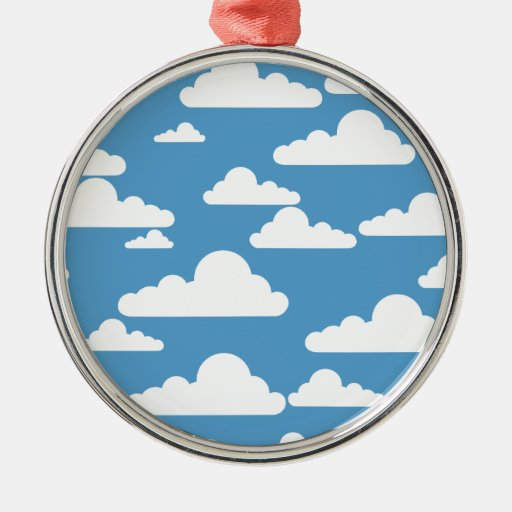 Cute Clouds Round Metal Christmas Ornament