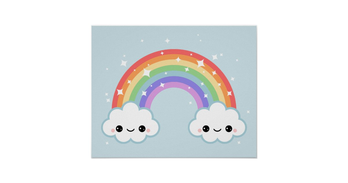 Cute Clouds With Rainbow Poster Zazzle Com