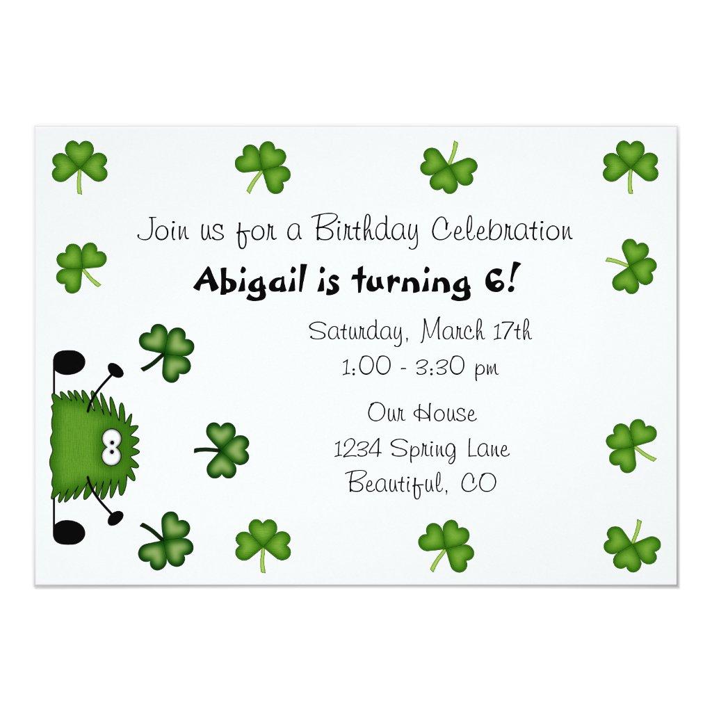 Cute Clovers Irish St Patrick's Day Birthday Invitation