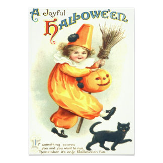 Cute Clown Black Cat Jack O Lantern Card