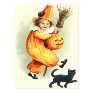Cute Clown Black Cat Jack O Lantern Postcard