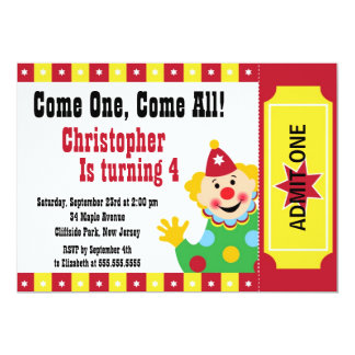 Cute Clown Circus Birthday Party Invitations