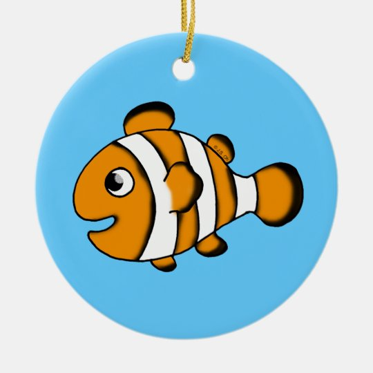 cute clown fish ceramic ornament