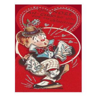 Cute Clown Flower Sneeze Heart Valentine Postcard