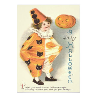 Cute Clown Jack O Lantern Pumpkin Card