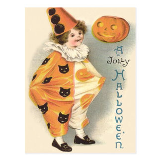 Cute Clown Jack O Lantern Pumpkin Postcard