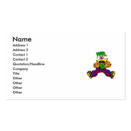 Cute clown with flowers business cards