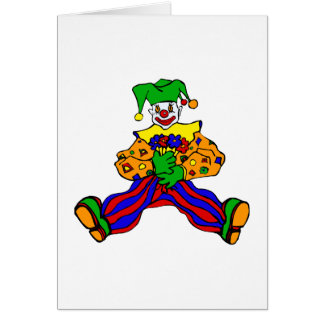 Cute clown with flowers card