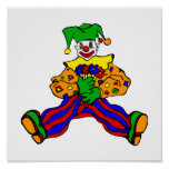 Cute clown with flowers posters