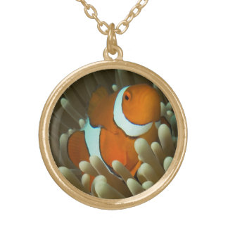 Cute clownfish on the Great Barrier Reef Round Pendant Necklace