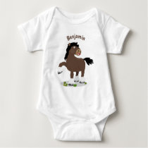 Cute Clydesdale draught horse cartoon illustration Baby Bodysuit