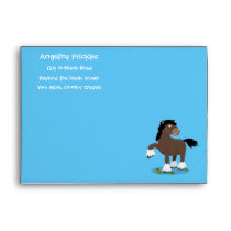 Cute Clydesdale draught horse cartoon illustration Envelope