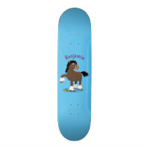 Cute Clydesdale draught horse cartoon illustration Skateboard