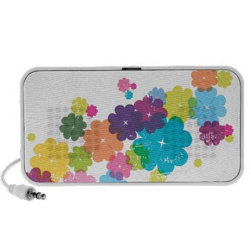 Cute CMYK flower pattern doodle speaker