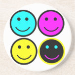 cute cmyk smiley face design beverage coaster