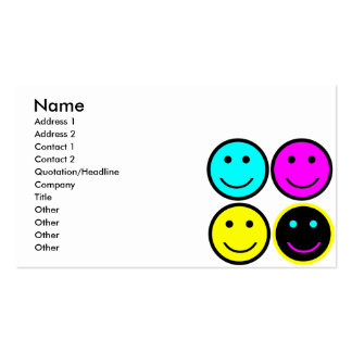 cute cmyk smiley face design business card