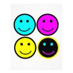 cute cmyk smiley face design flyers